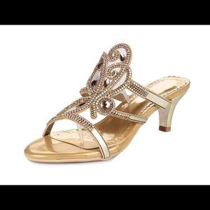 Beautiful gold kitten heel shoes